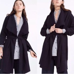 77774b06b4e14 Zara Navy Blue Wool Blend Waterfall Coat